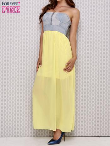 Żółta sukienka maxi z gorsetem z denimu                                  zdj.                                  3