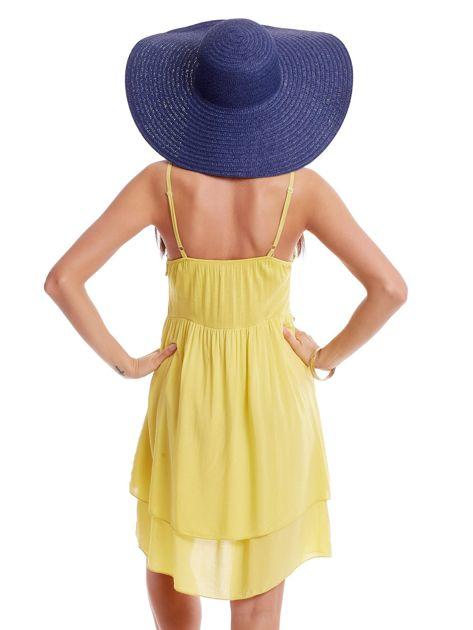 Żółta sukienka na cienkich ramiączkach                              zdj.                              2