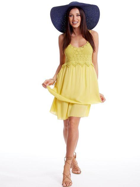 Żółta sukienka na cienkich ramiączkach                              zdj.                              4