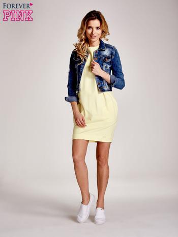 Żółta sukienka z rękawem za łokieć                                  zdj.                                  2