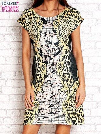 Żółta sukienka z tygrysim nadrukiem                                  zdj.                                  1