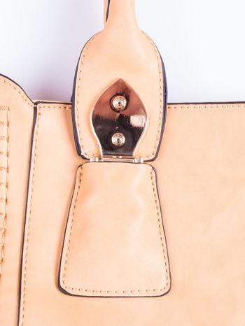 Żółta torba shopper ze stębnowaniem                                  zdj.                                  5