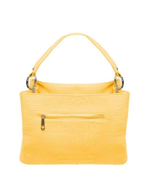 Żółta torebka na ramię tłoczona na wzór skóry krokodyla                                  zdj.                                  2