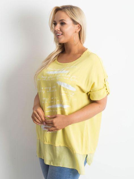 Żółta tunika plus size z nadrukiem                              zdj.                              3
