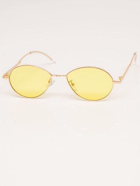 Żółte Metalowe Owalne Okulary Unisex                              zdj.                              2