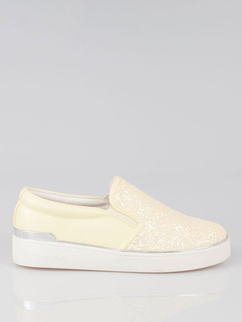 Żółte buty sliponki glitter                                  zdj.                                  1