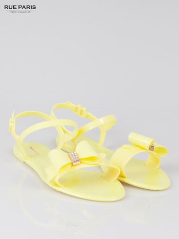 Żółte gumowe sandały meliski z kokardą Monique                                  zdj.                                  2