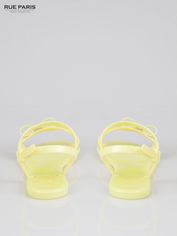 Żółte gumowe sandały meliski z kokardą Monique                                  zdj.                                  3