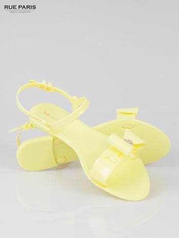 Żółte gumowe sandały meliski z kokardą Monique                                  zdj.                                  4