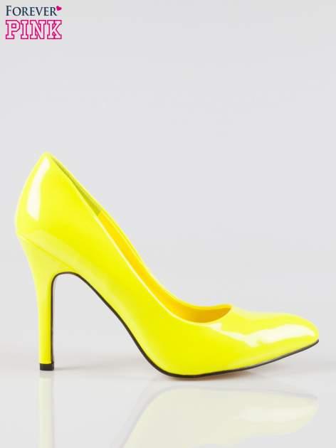 Żółte lakierowane szpilki w szpic                                  zdj.                                  1