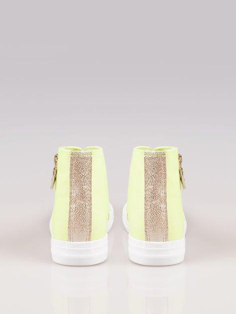 Żółte sneakersy gold cap toe Cody z suwakiem z boku                                  zdj.                                  3