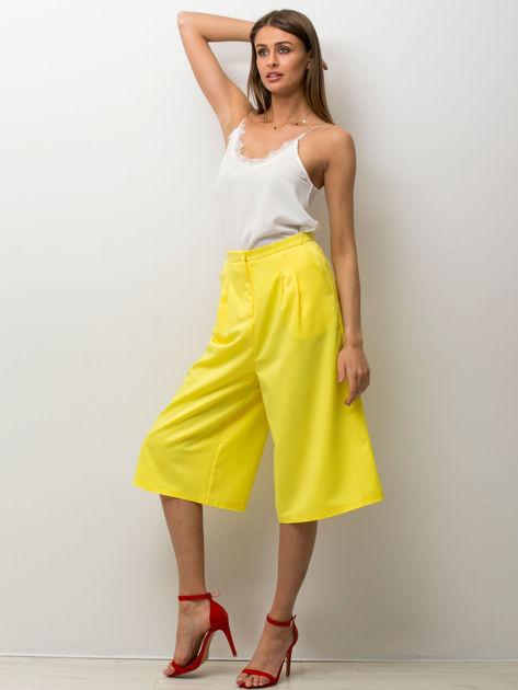 Żółte spódnicospodnie typu culottes                                  zdj.                                  4