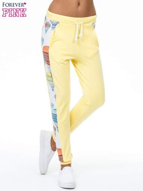 Żółte spodnie dresowe z lampasem w balony