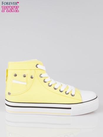 Żółte trampki na koturnie