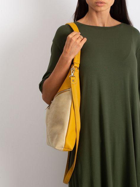 Żółto-beżowa torba z odpinanym paskiem                              zdj.                              3
