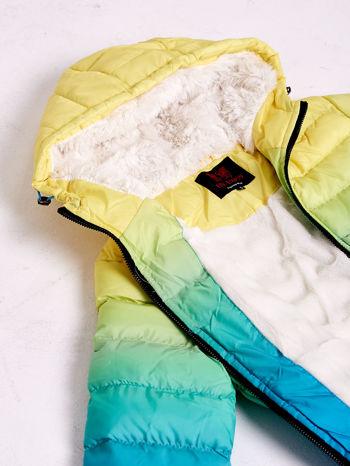 Żółto-niebieska kurtka ombre z futrzanym kołnierzem                                  zdj.                                  9