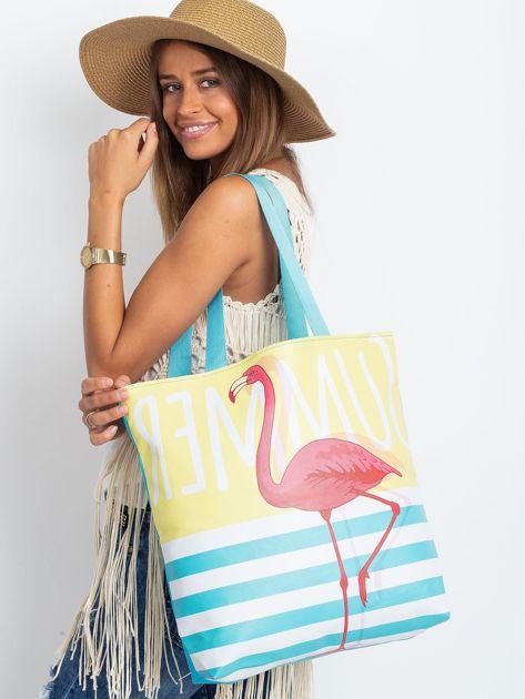 Żółto-niebieska torba z flamingiem                              zdj.                              7