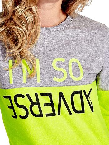 Żółto-szara bluza z napisem I'M SO ADVERSE                                  zdj.                                  5