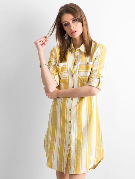 Żółto-zielona sukienka szmizjerka w paski                              zdj.                              1