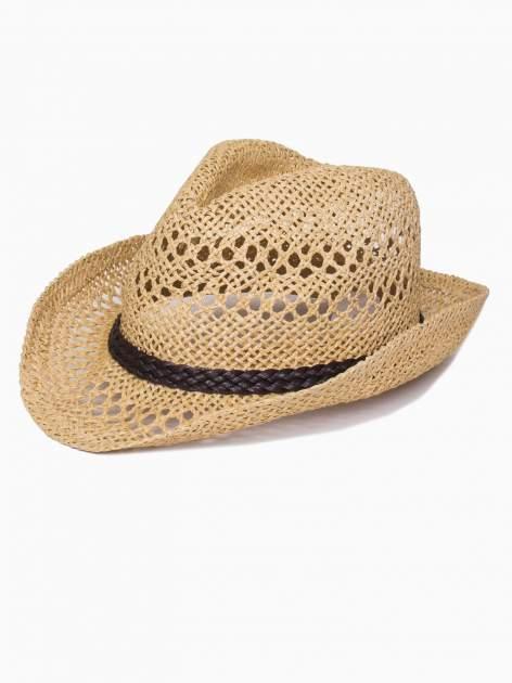 Żółty damski kapelusz kowbojski z ciemną plecionką                                  zdj.                                  4