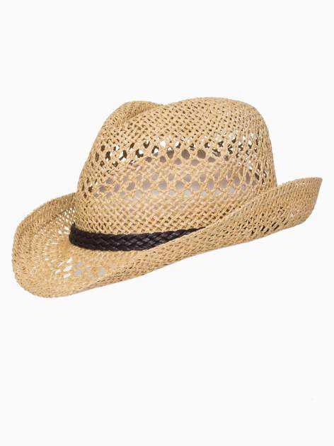 Żółty damski kapelusz kowbojski z ciemną plecionką                                  zdj.                                  7