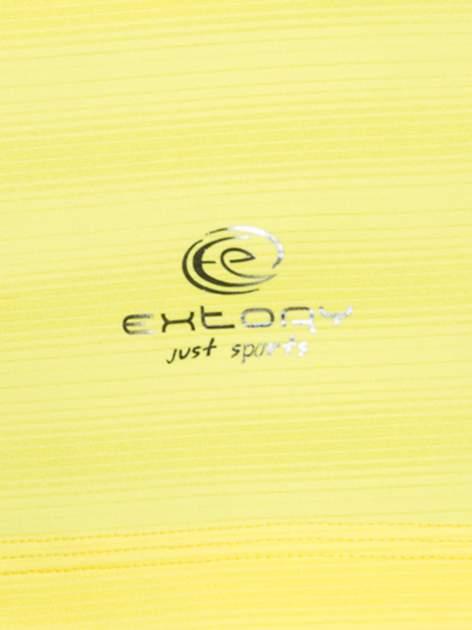 Żółty damski t-shirt sportowy w paski                                  zdj.                                  3