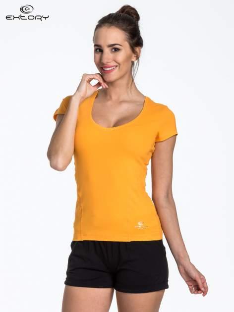 Żółty jednolity t-shirt sportowy