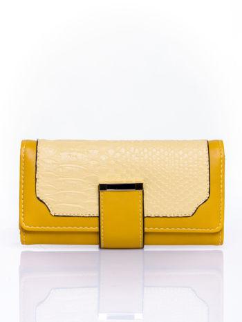 Żółty portfel z motywem skóry aligatora                                   zdj.                                  1