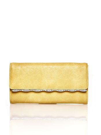 Żółty portfel z ozdobną aplikacją                                  zdj.                                  1