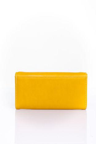 Żółty portfel z ozdobnym detalem i złotymi okuciami                                  zdj.                                  2