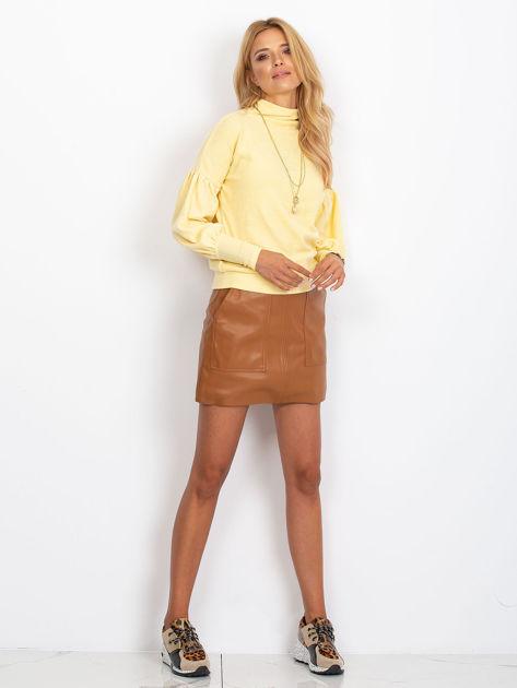 Żółty sweter z szerokimi rękawami                              zdj.                              4