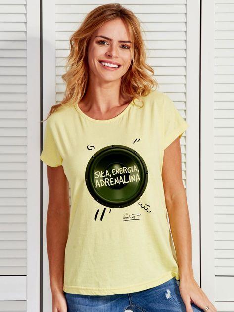 Żółty t-shirt damski z głośnikiem ADRENALINA by Markus P                              zdj.                              1