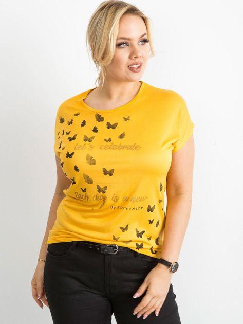 Żółty t-shirt damski z nadrukiem PLUS SIZE                              zdj.                              3