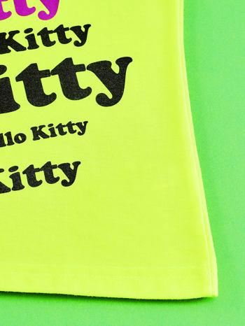 Żółty t-shirt dla dziewczynki HELLO KITTY z napisami                                  zdj.                                  5