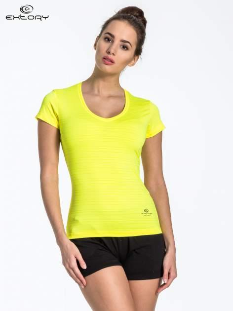 Zółty t-shirt sportowy w paseczki                                  zdj.                                  1