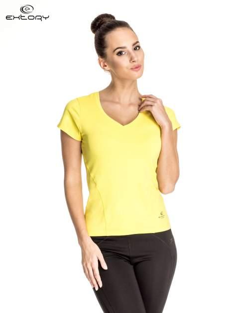 Żółty t-shirt sportowy z dekoltem V-neck PLUS SIZE