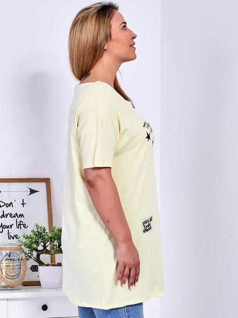 Żółty t-shirt z aplikacją PLUS SIZE                              zdj.                              3
