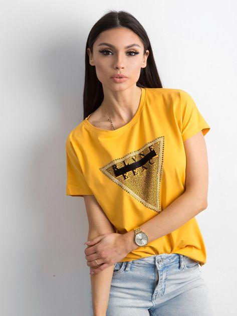 Żółty t-shirt z aplikacją i wycięciem z tyłu                              zdj.                              1