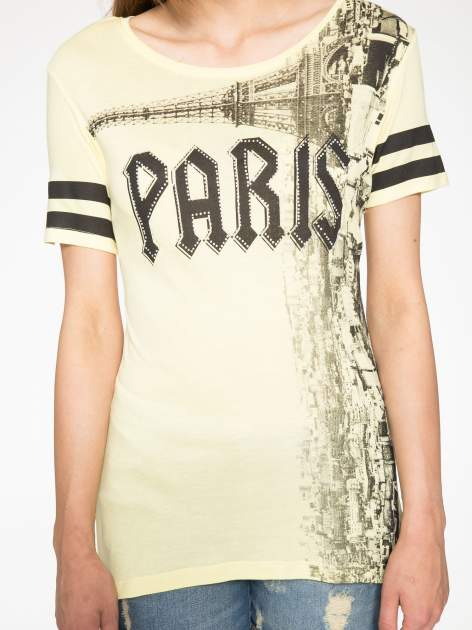 Żółty t-shirt z motywem Paryża                                  zdj.                                  7