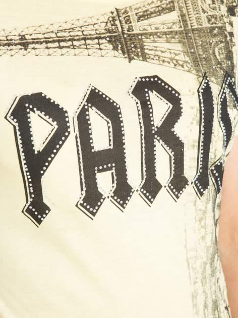 Żółty t-shirt z motywem Paryża                                  zdj.                                  8