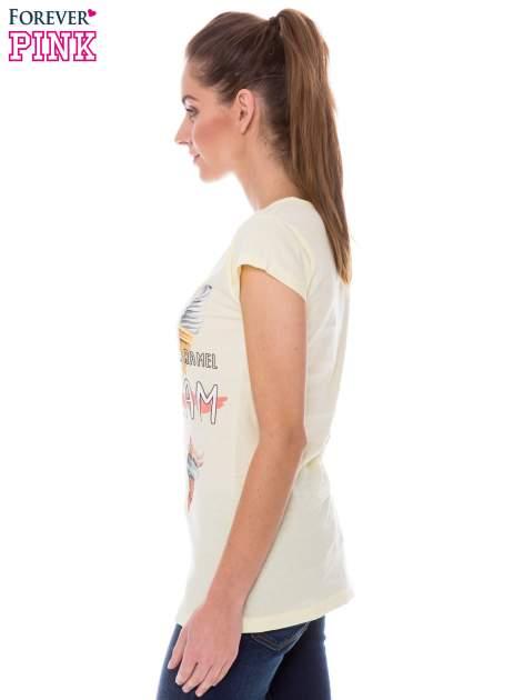 Żółty t-shirt z nadrukiem ICE CREAM                                  zdj.                                  2