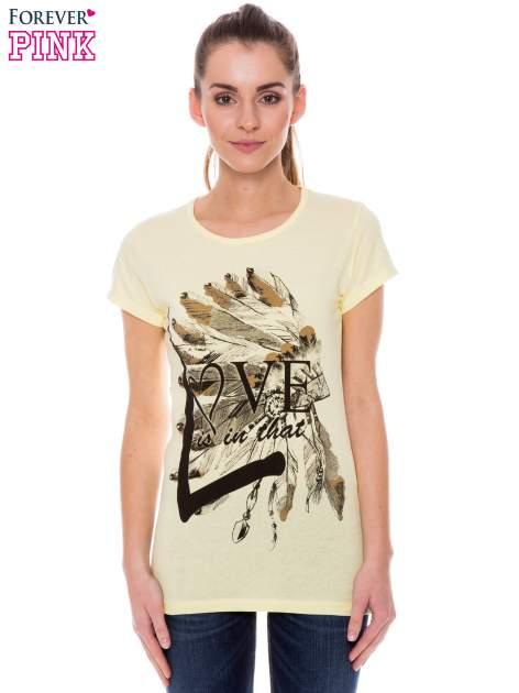 Żółty t-shirt z nadrukiem indianina                                  zdj.                                  1
