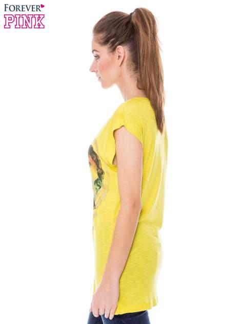 Żółty t-shirt z nadrukiem serca i napisem DREAM                                  zdj.                                  2