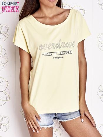 Żółty t-shirt z napisem NEED IT LOUDER                                  zdj.                                  1