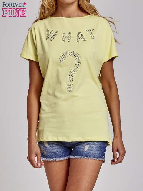 Żółty t-shirt z numerem 58 z dżetów                                  zdj.                                  3