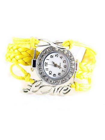 Żółty zegarek damski na skórzanym, plecionym sznurku                                  zdj.                                  1