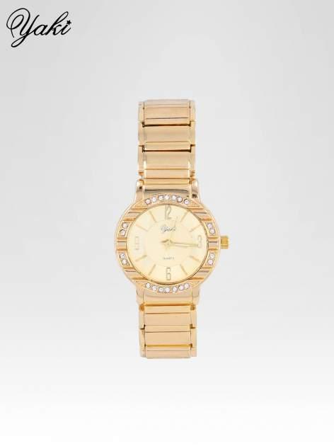 Zoty zegarek damski na bransolecie z okrągłą kopertą z cyrkoniami                                  zdj.                                  1