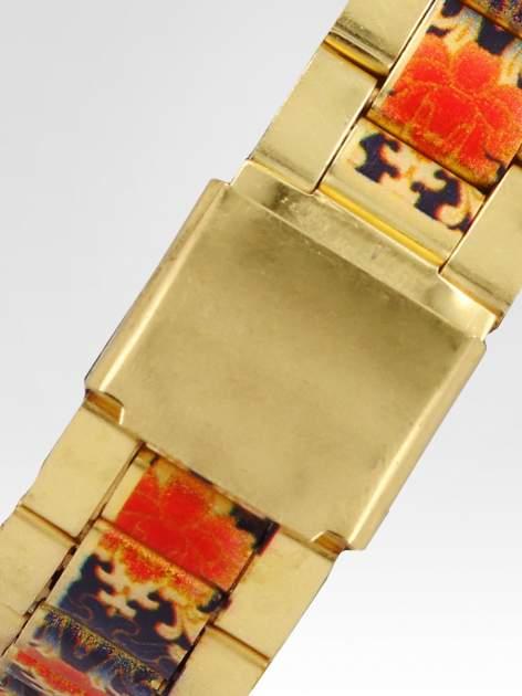 zegarek damski na bransolecie z czerwonym motywem kwiatowym                                  zdj.                                  4