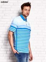 ADIDAS Niebieska koszulka polo męska w paski                                  zdj.                                  2