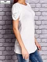 ARMANI Jasnoszary t-shirt z drapowanymi rękawami                                  zdj.                                  3